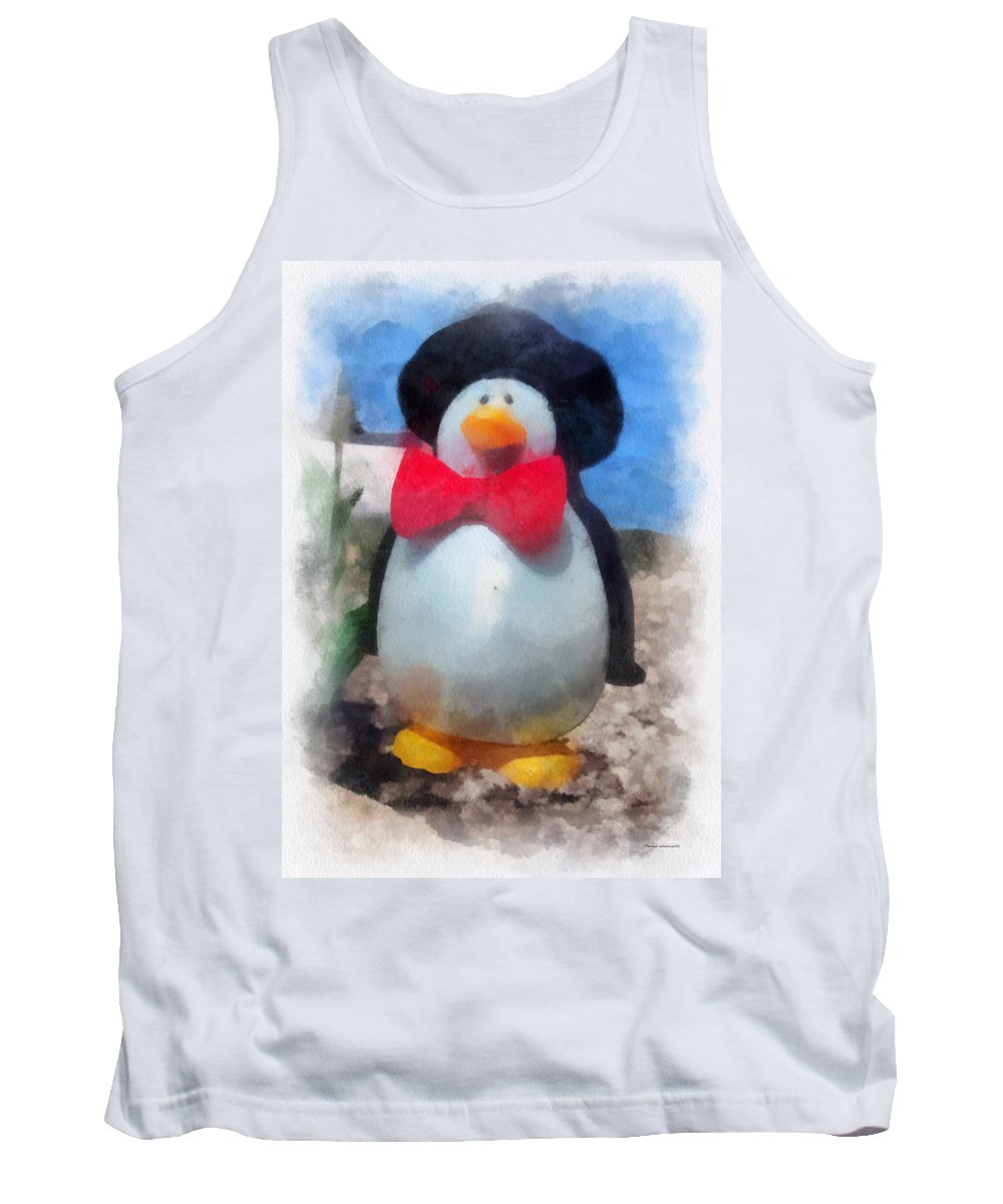 Penguin Tank Top featuring the photograph Bow Tie Penguin Photo Art by Thomas Woolworth