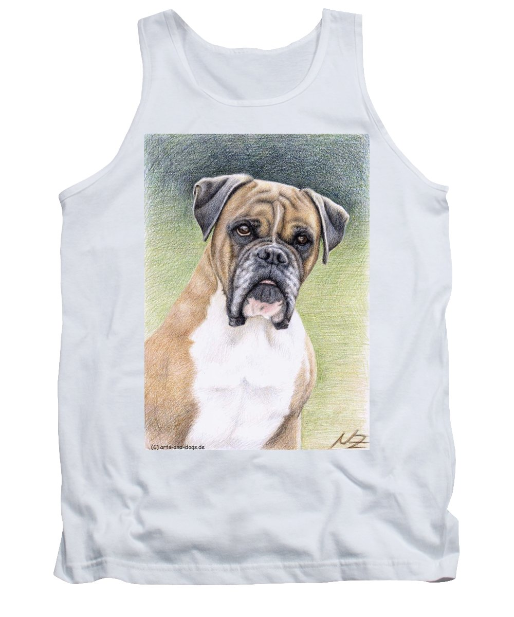 Dog Tank Top featuring the drawing Boxer Portrait by Nicole Zeug
