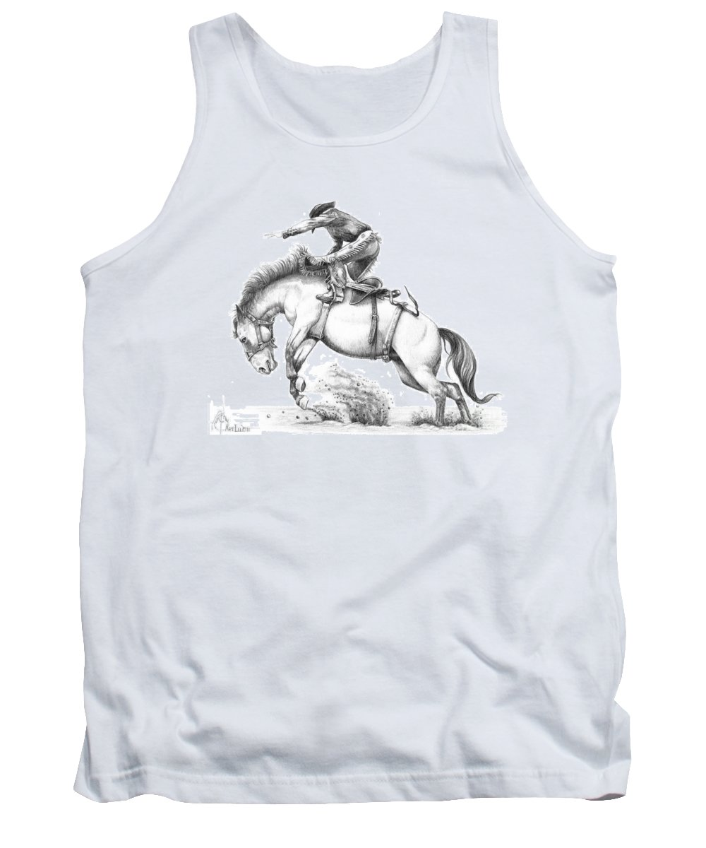 Drawing Tank Top featuring the drawing Bronco by Murphy Elliott