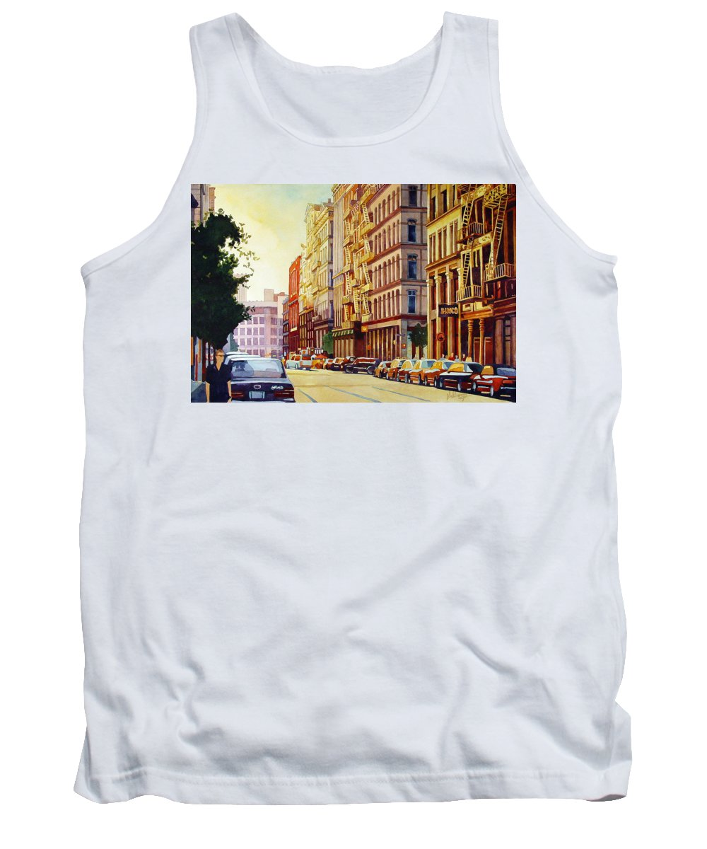 Watercolor Tank Top featuring the painting Brownstone Sunset by Mick Williams