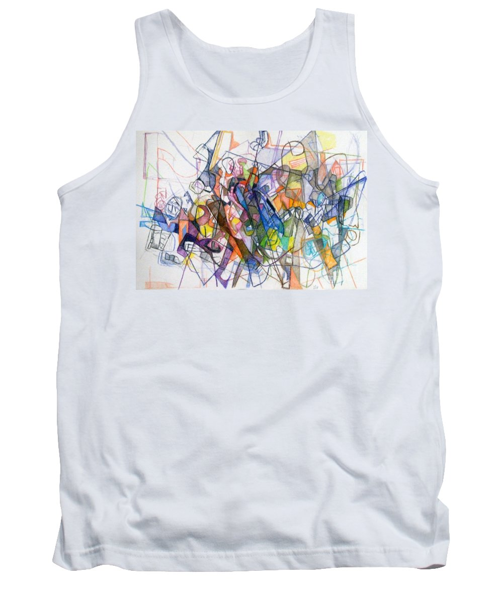 Torah Tank Top featuring the drawing bSeter Elyion 19 by David Baruch Wolk