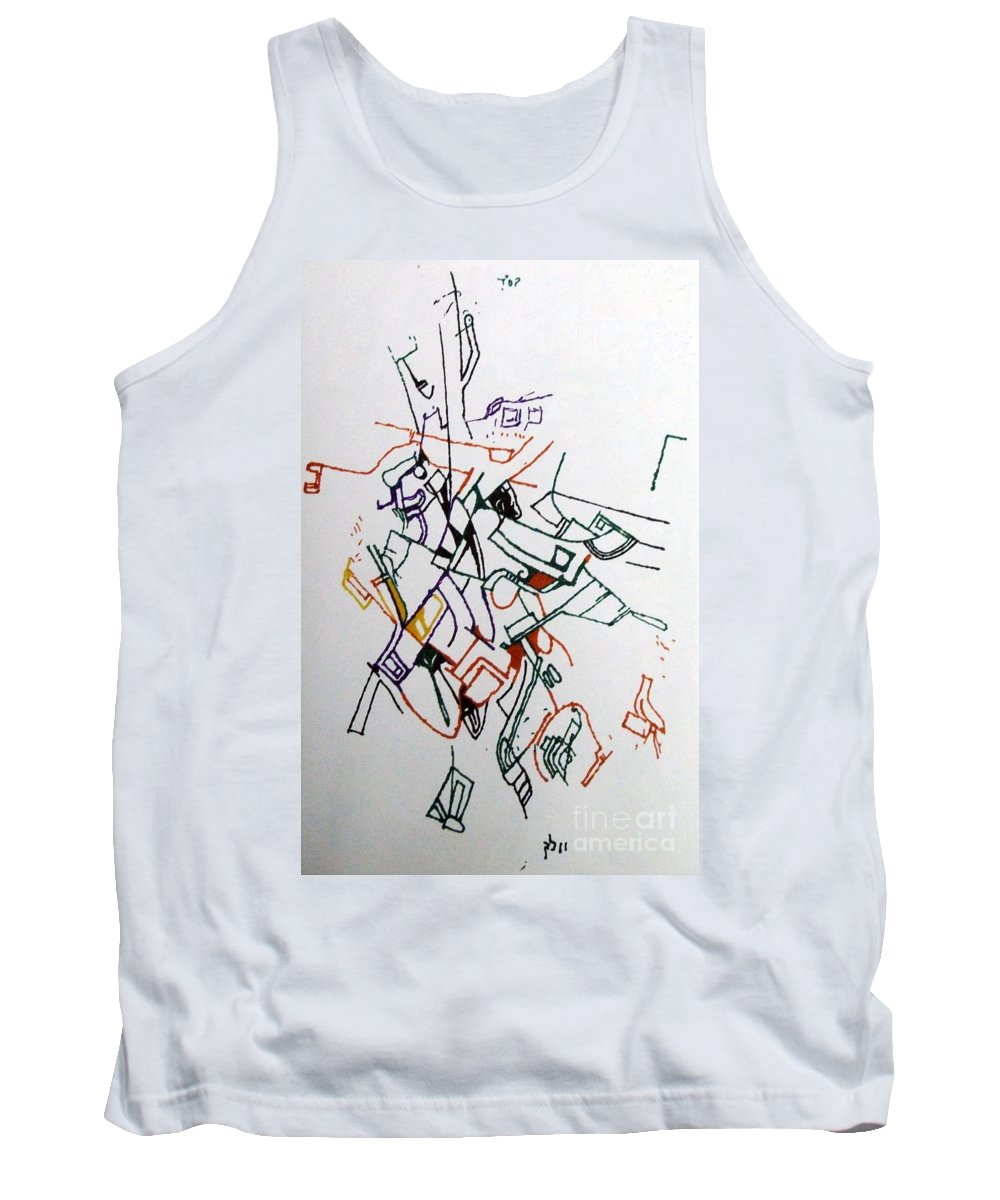 Torah Tank Top featuring the drawing Bseter Elyon 65 by David Baruch Wolk