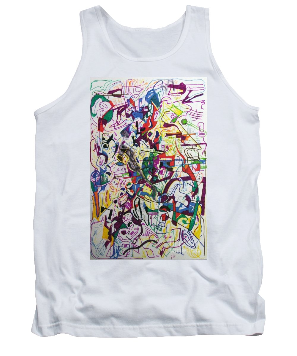 Torah Tank Top featuring the drawing Bseter Elyon 67 by David Baruch Wolk
