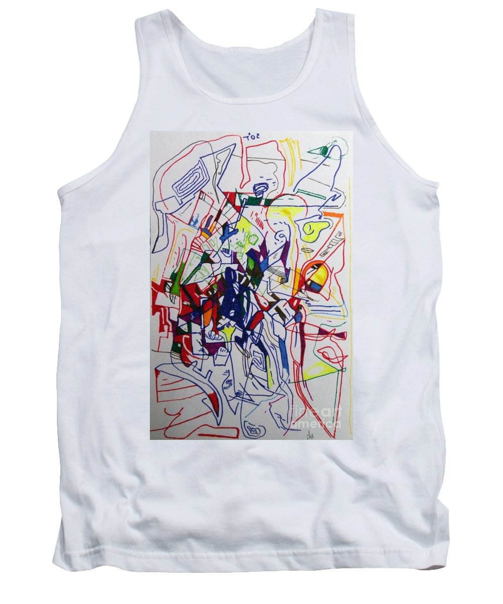 Torah Tank Top featuring the drawing Bseter Elyon 68 by David Baruch Wolk