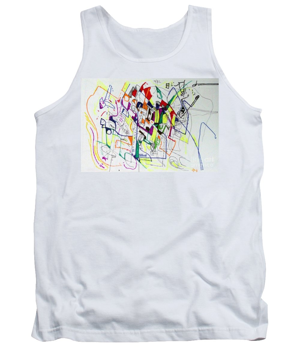Torah Tank Top featuring the drawing Bseter Elyon 86 by David Baruch Wolk