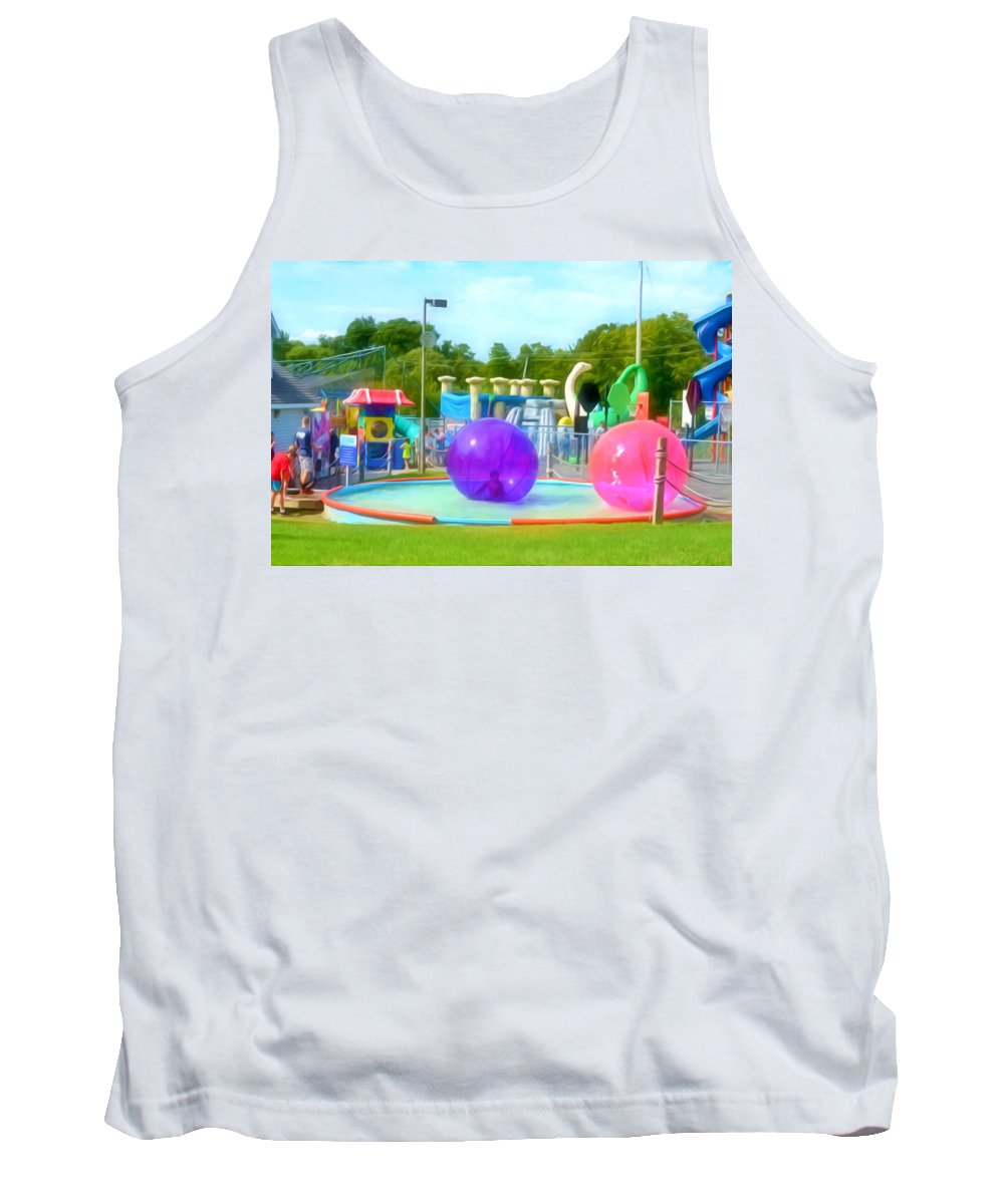 Bubble Ball Tank Top featuring the painting Bubble Ball 4  by Jeelan Clark