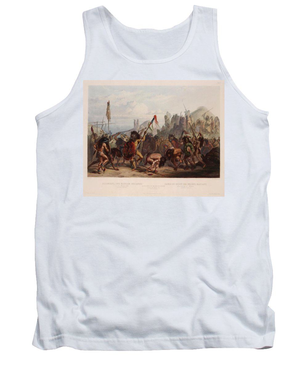 Karl Bodmer Tank Top featuring the drawing Buffalo Dance Of The Mandan Indians by Karl Bodmer