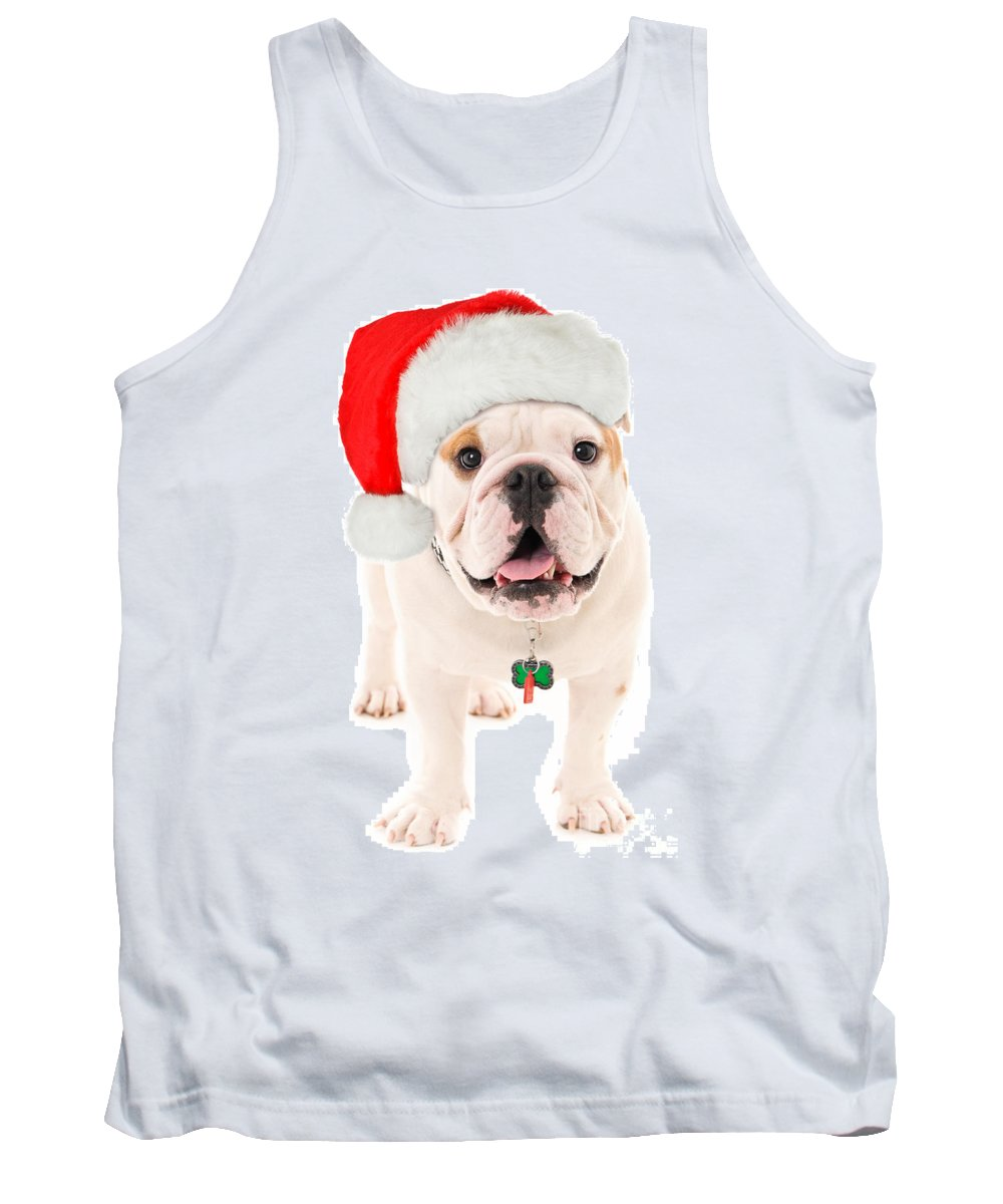 Dog Tank Top featuring the photograph Bulldog Santa by Jt PhotoDesign