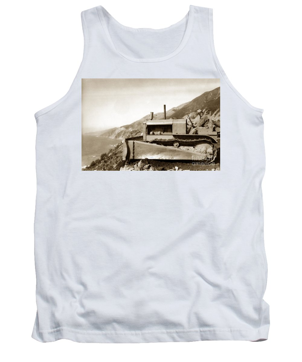 Bulldozer Tank Top featuring the photograph Bulldozer Working On Highway One Big Sur Circa 1930 by California Views Archives Mr Pat Hathaway Archives