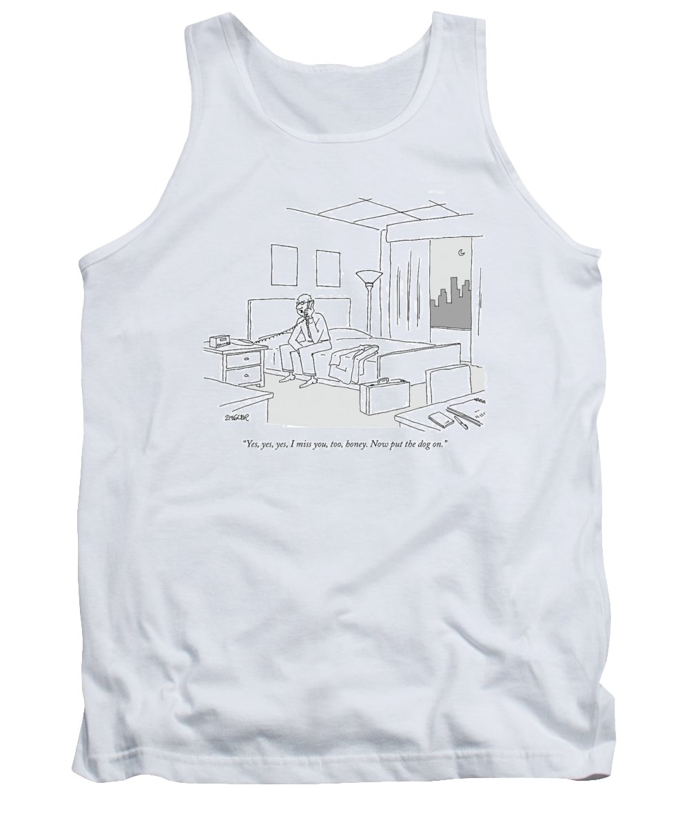 Relationships Pets Travel Problems  (businessman Sitting On A Bed In Hotel Room Talking On The Phone.) 121246 Jzi Jack Ziegler Topziegler Tank Top featuring the drawing Businessman Sitting On A Bed In Hotel Room by Jack Ziegler