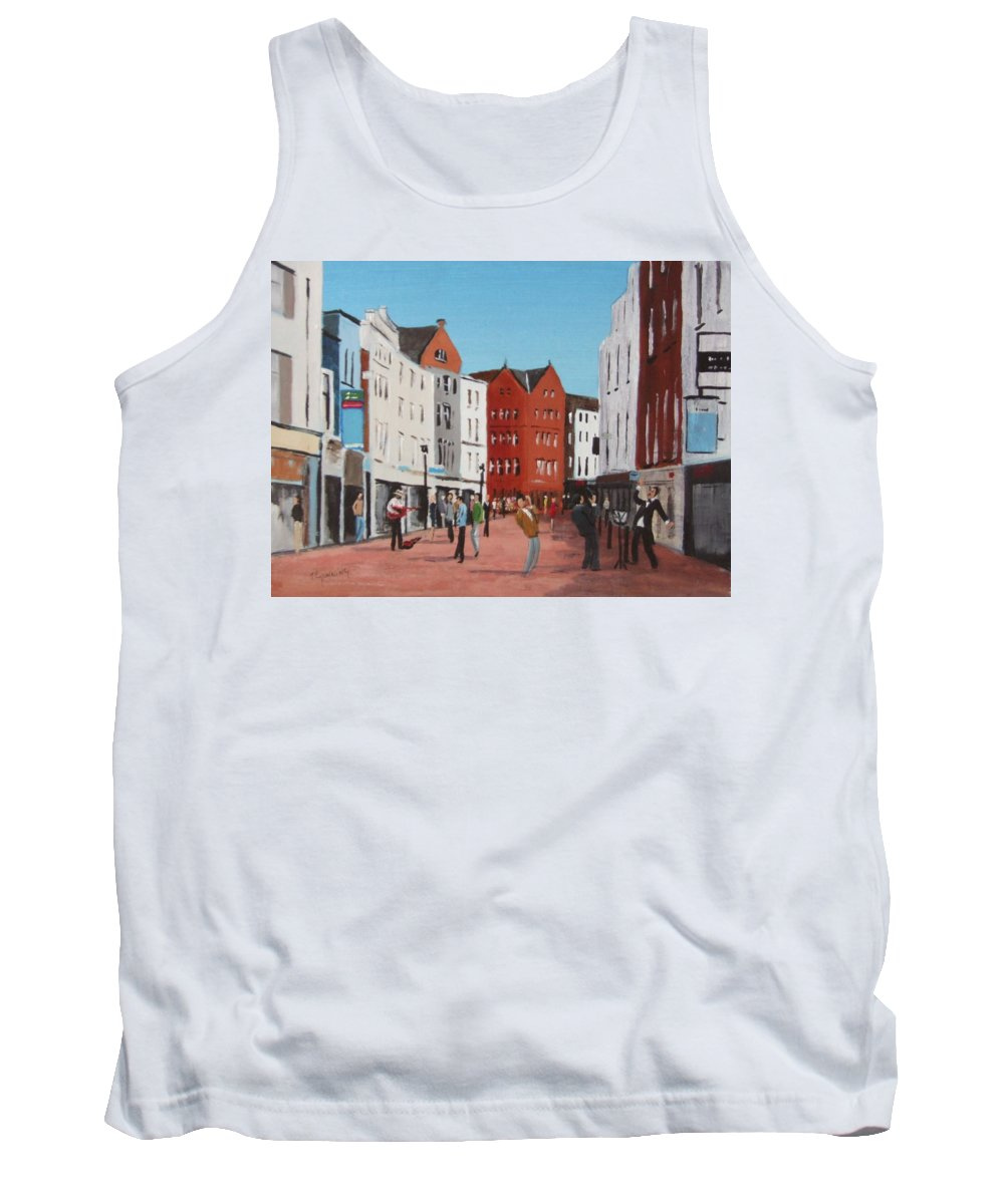 Streetscape Tank Top featuring the painting Busking On Grafton Street by Tony Gunning