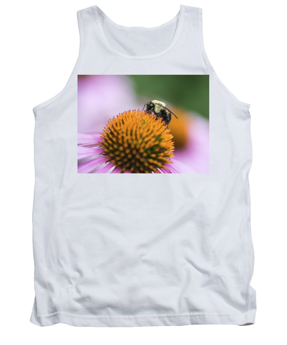 Bee Tank Top featuring the photograph Busy Bee On Cone Flower by Vishwanath Bhat