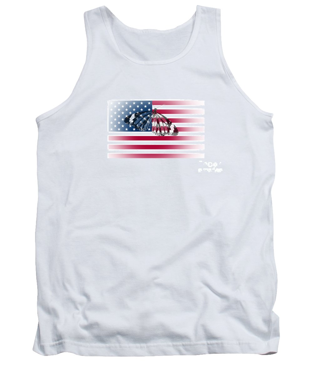 Butterfly Tank Top featuring the photograph Butterfly Embedded With Usa National Flag by Image World