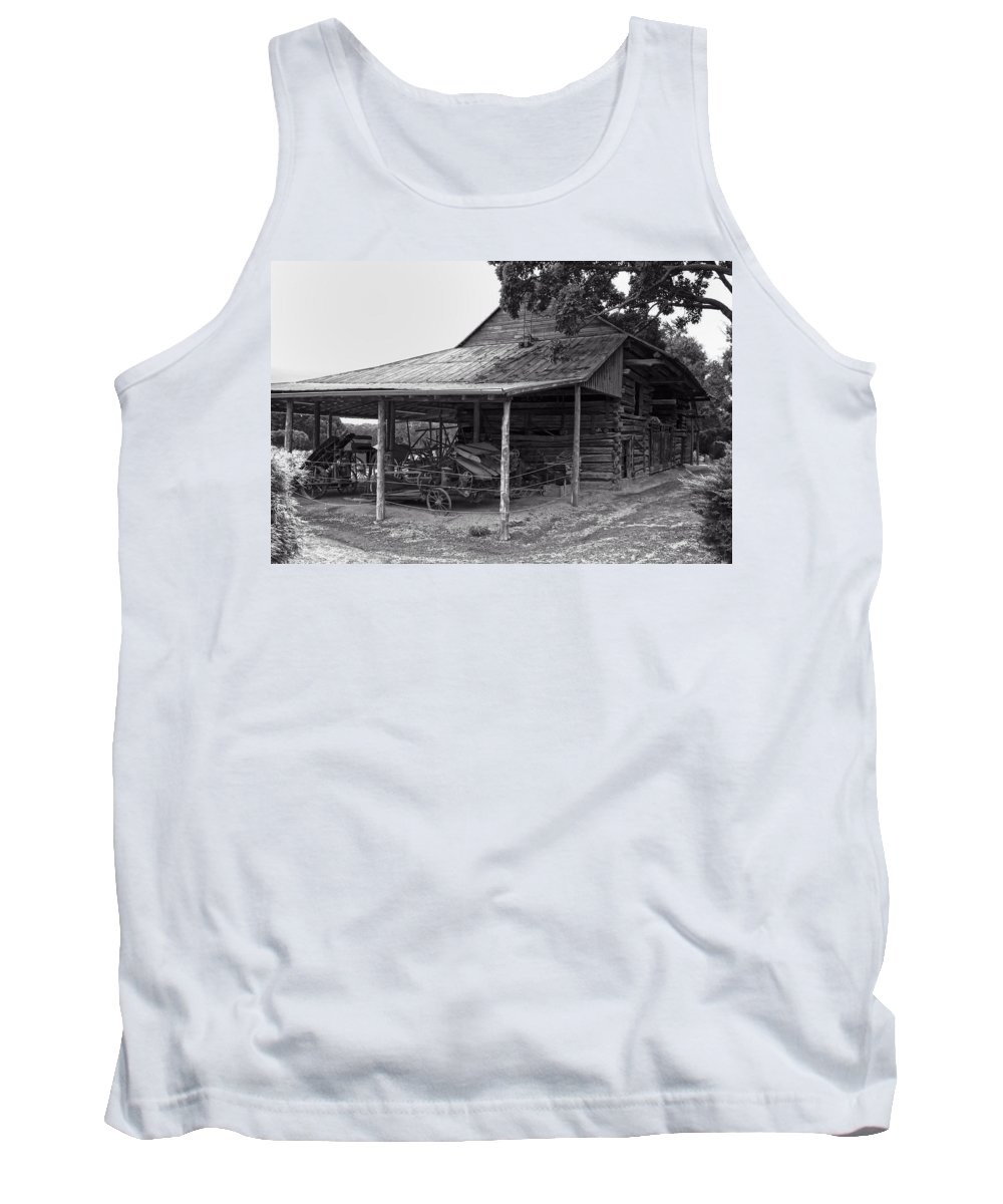 Antique Barn Tank Top featuring the digital art bw Antique Barn by Chris Flees