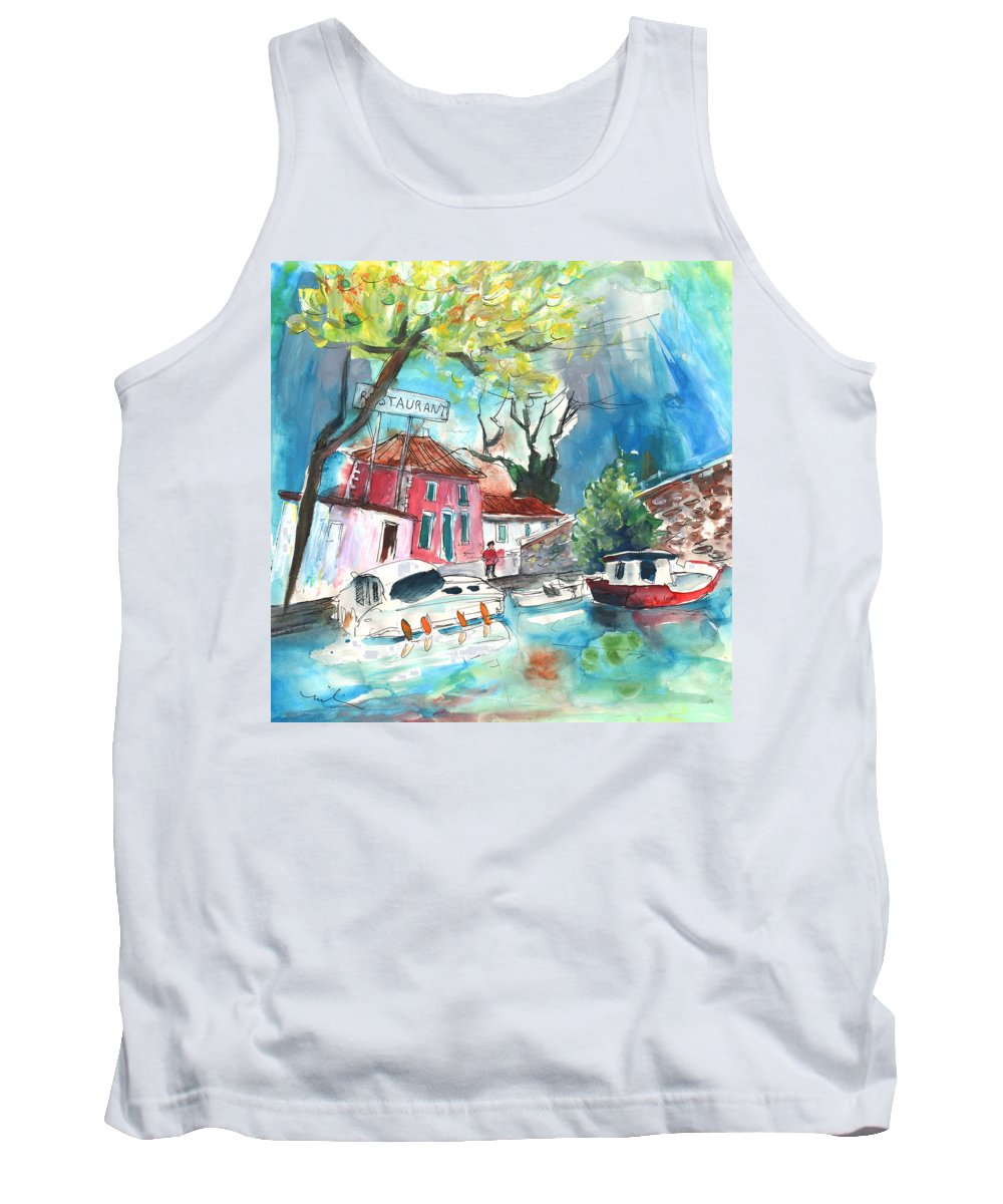 Travel Tank Top featuring the painting By A French Canal 01 by Miki De Goodaboom