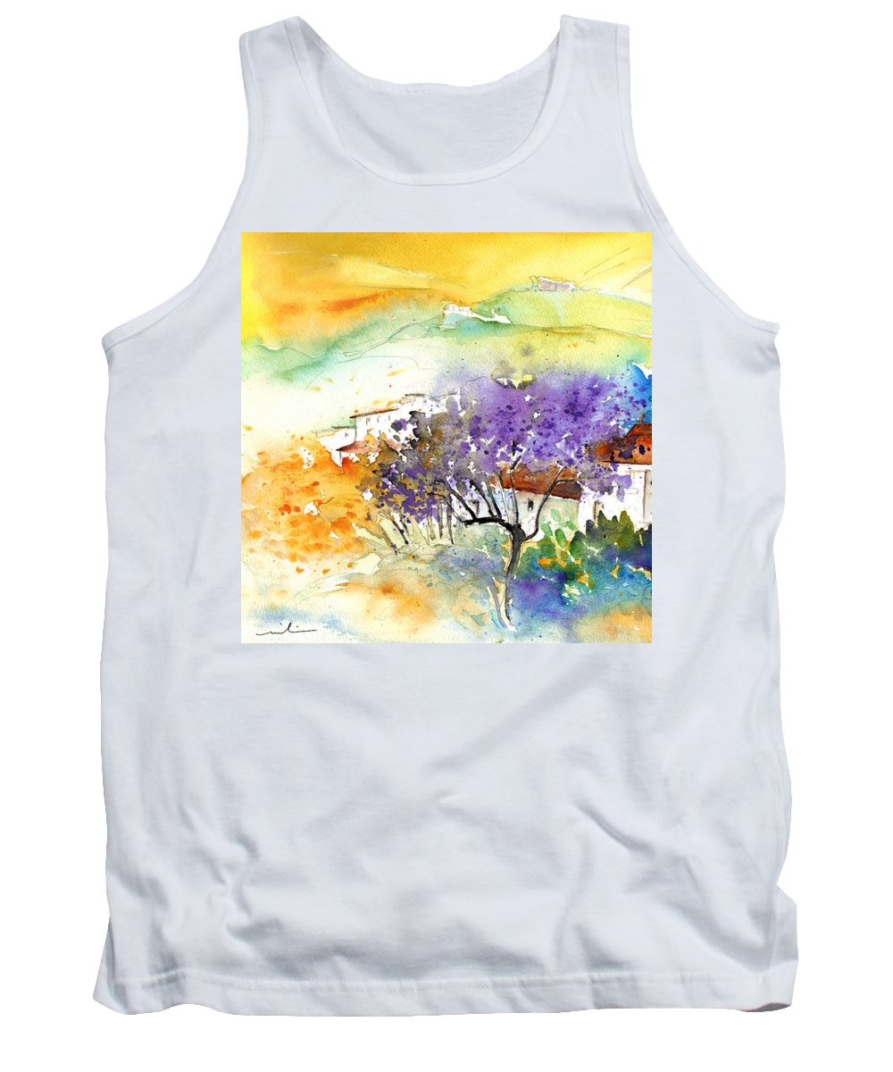 Watercolour Tank Top featuring the painting By Teruel Spain 01 by Miki De Goodaboom