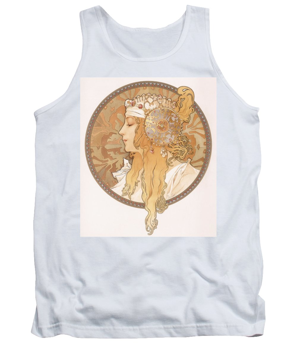 Mucha Tank Top featuring the painting Byzantine Head Of A Blond Maiden by Alphonse Marie Mucha