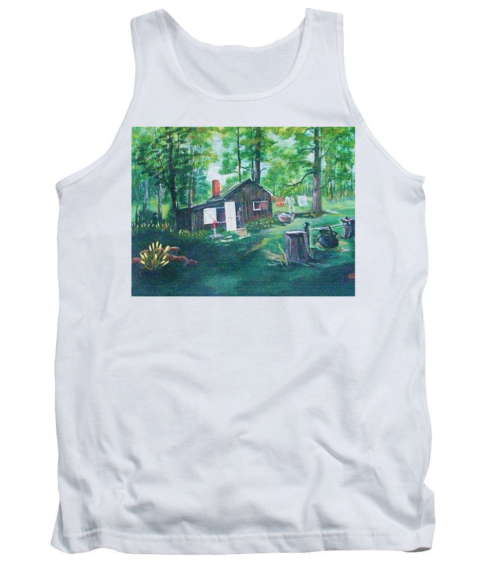 Cabins Wilderness Tank Top featuring the painting Cabin In The Woods by Catherine Swerediuk