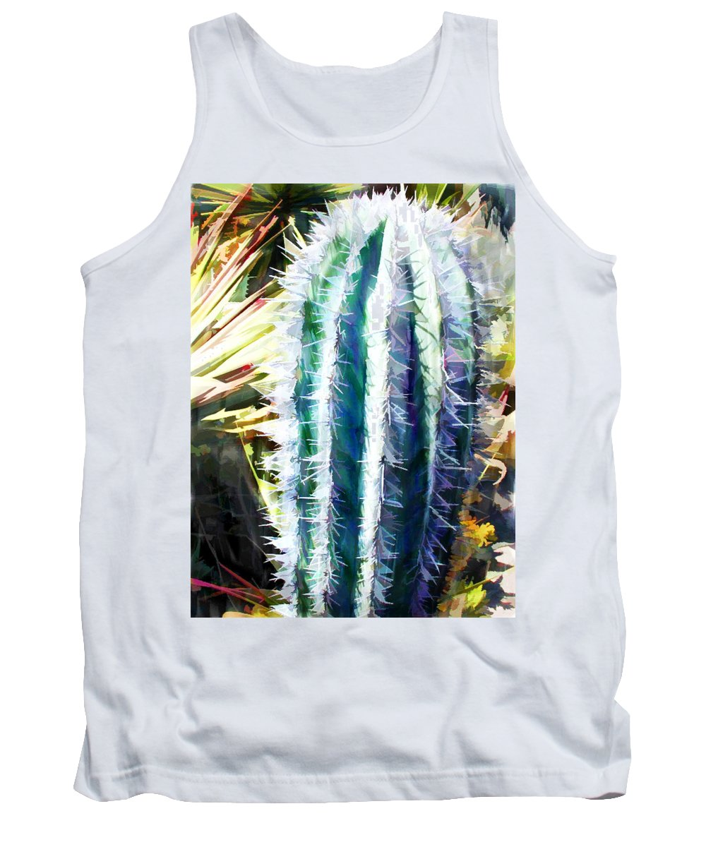 Cactus Tank Top featuring the painting Cactus Pillar by Elaine Plesser