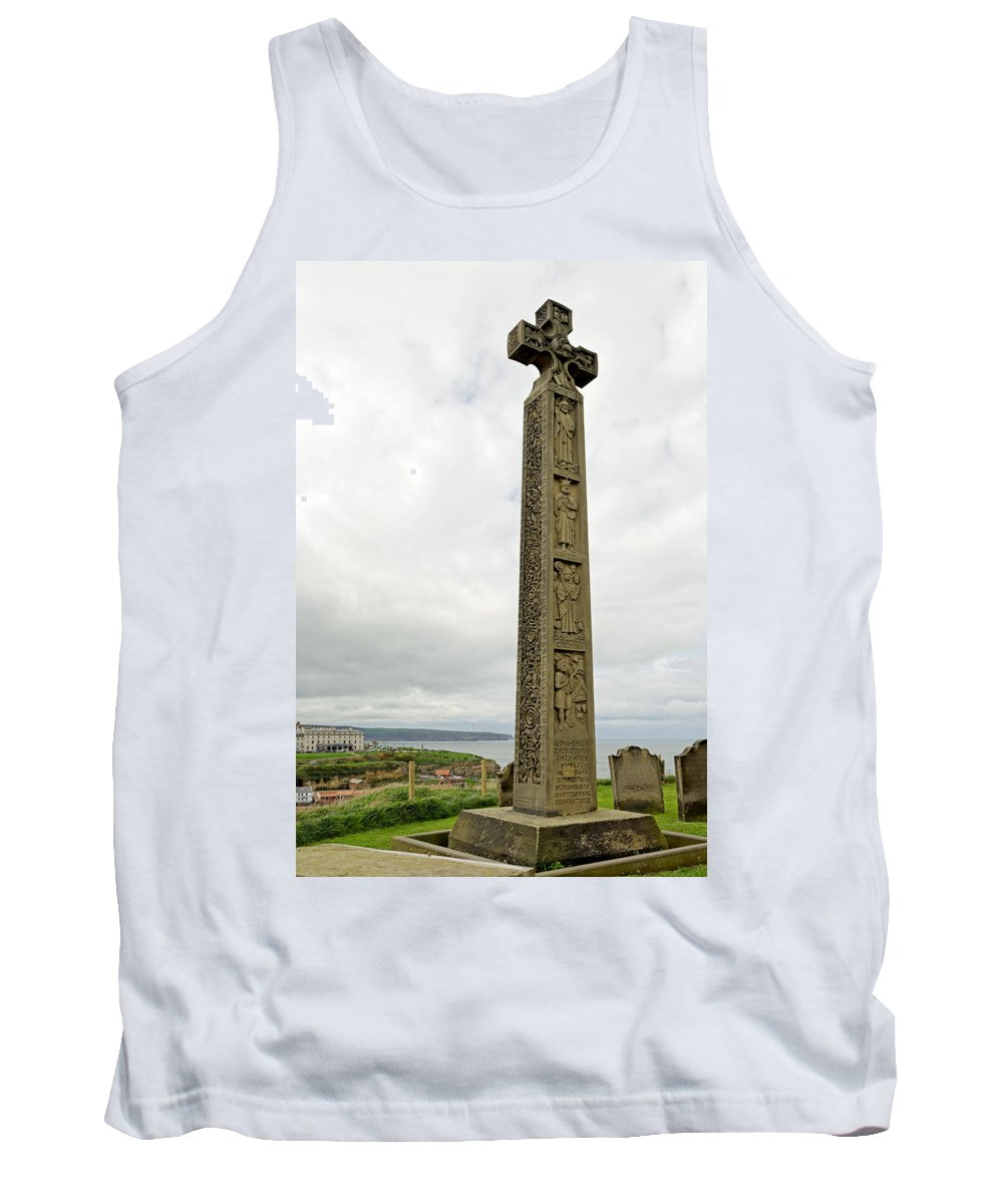 Britain Tank Top featuring the photograph Caedmon's Cross - Whitby by Rod Johnson