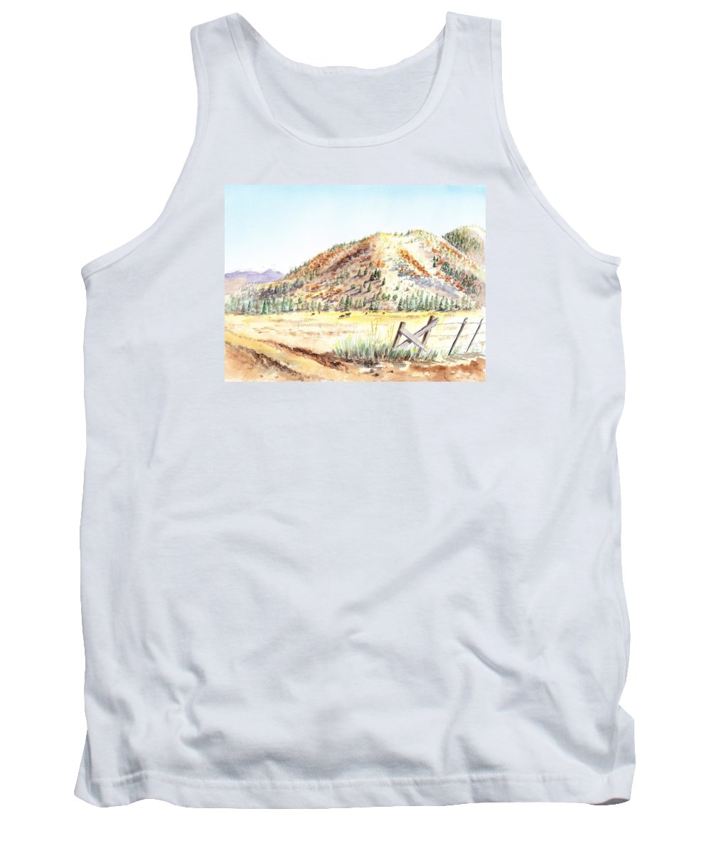 Mountain Tank Top featuring the painting Californian Landscape Saint John Ranch Bald Mountain View Shasta County by Irina Sztukowski