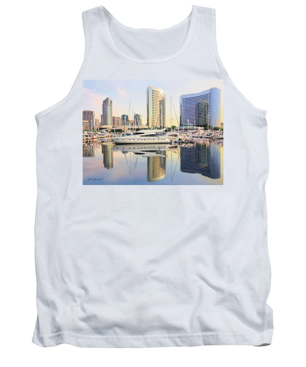 Marina Tank Top featuring the painting Calm Summer Morning by Jane Girardot