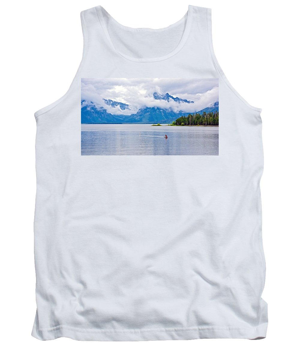 Canoeing In Colter Bay In Grand Teton National Park Tank Top featuring the photograph Canoeing In Colter Bay In Grand Teton National Park-wyoming by Ruth Hager