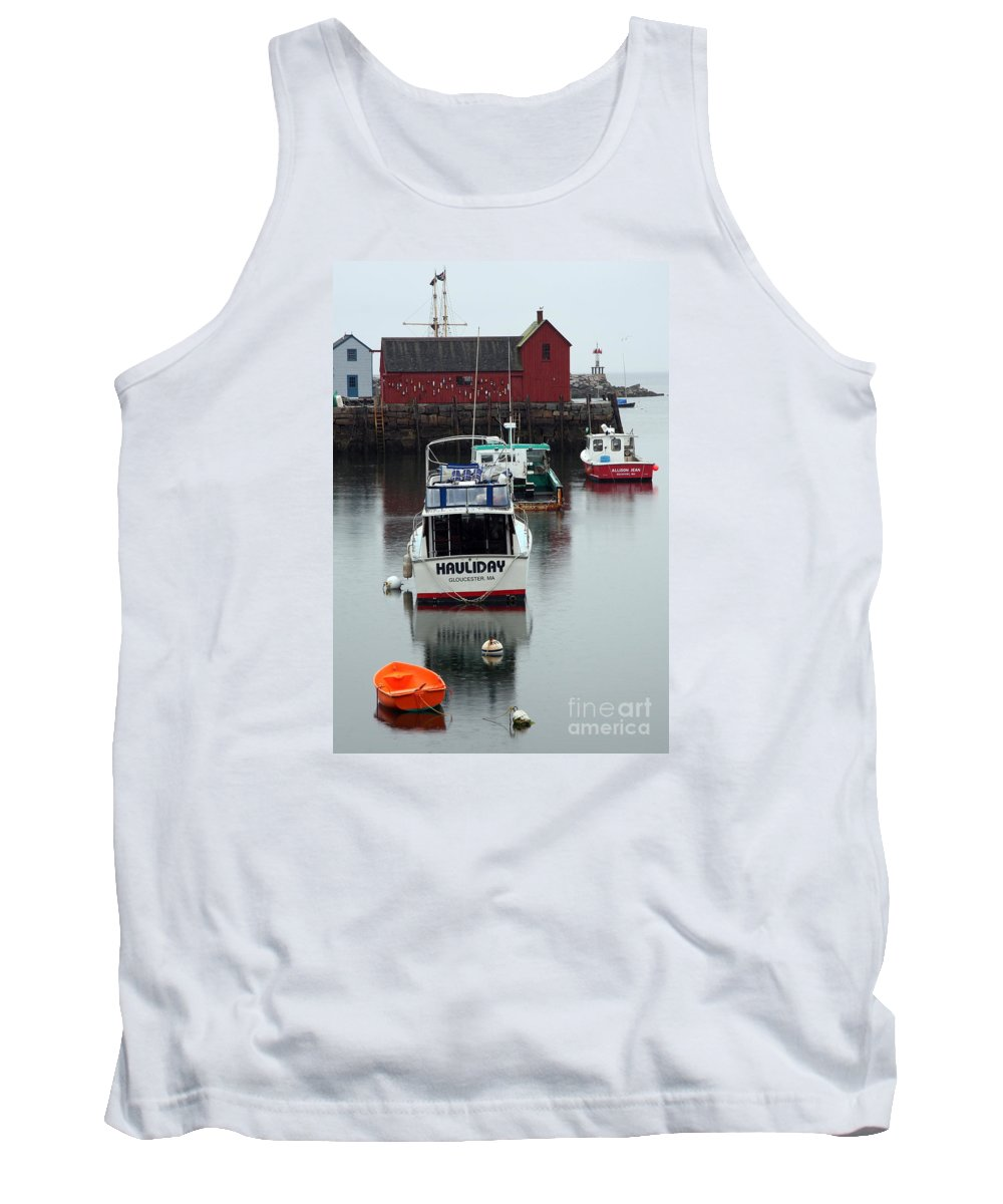 Red Shack Tank Top featuring the photograph Cape Ann Red Fishing Shack by Christiane Schulze Art And Photography