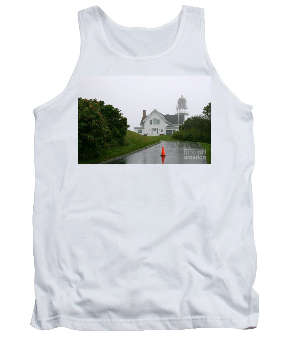 Lighthouse Tank Top featuring the photograph Cape Elizabeth On A Rainy Day- Maine by Christiane Schulze Art And Photography