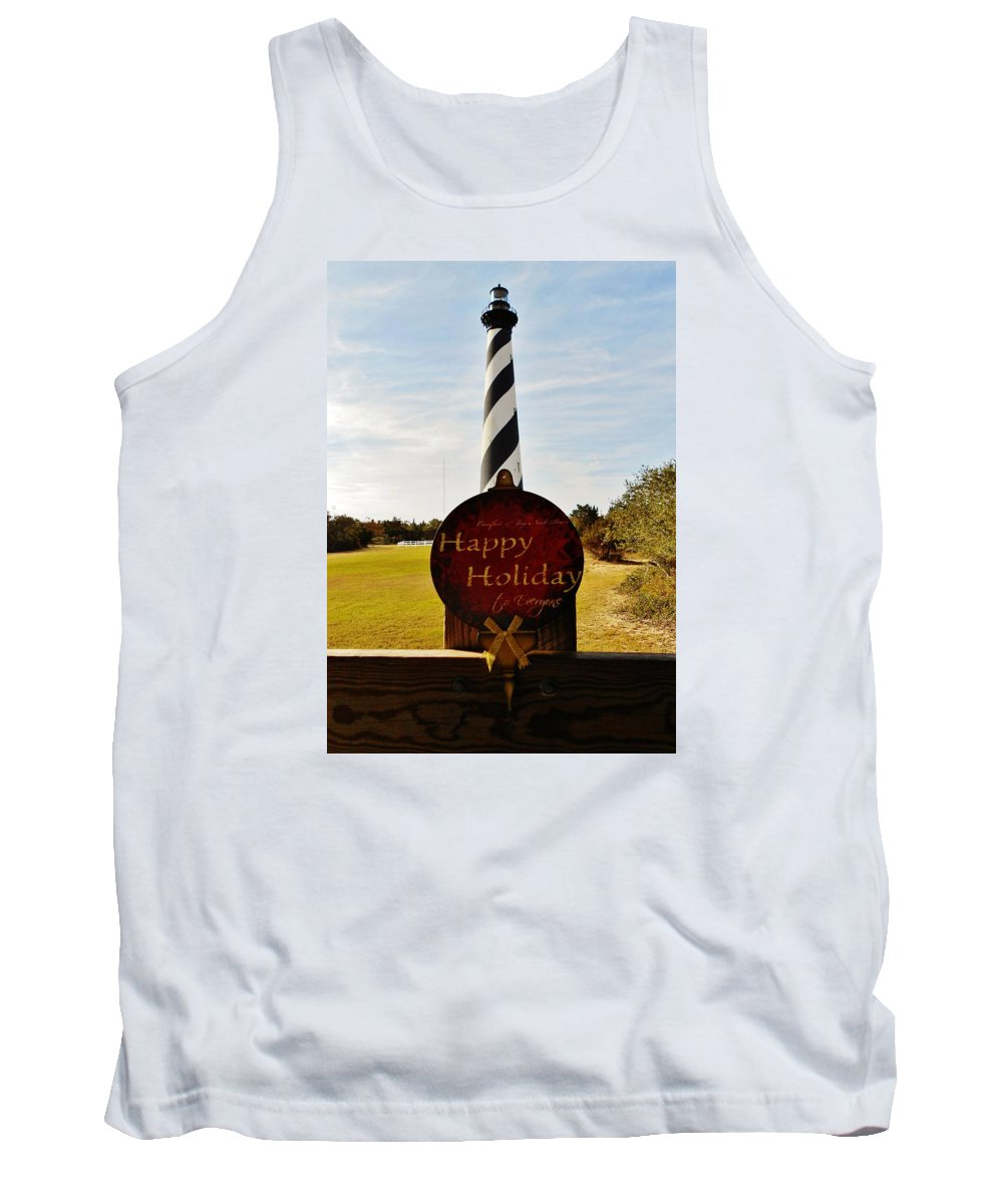 Mark Lemmon Cape Hatteras Nc The Outer Banks Photographer Subjects From Sunrise Tank Top featuring the photograph Cape Hatteras Lighthouse Happy Holiday 1 12/7 by Mark Lemmon