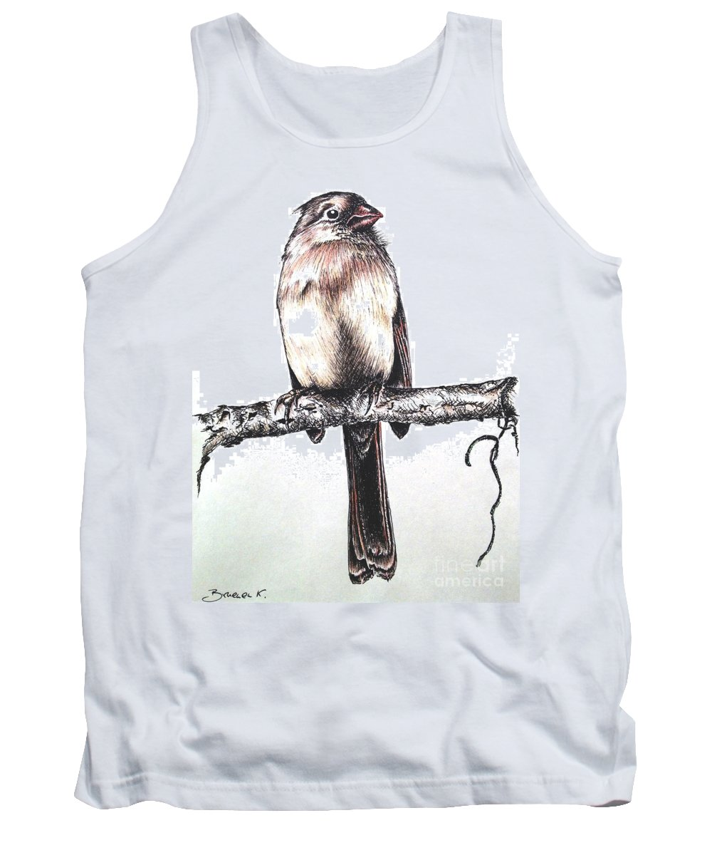 Ink Sketch Tank Top featuring the drawing Cardinal Female by Katharina Filus