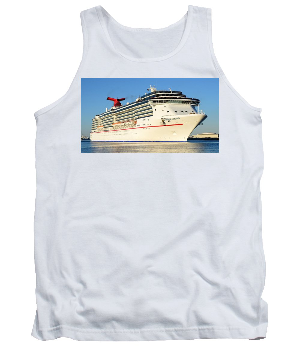 Cruise Ship Tank Top featuring the photograph Carnival Legend Leaving Tampa Florida by David Lee Thompson