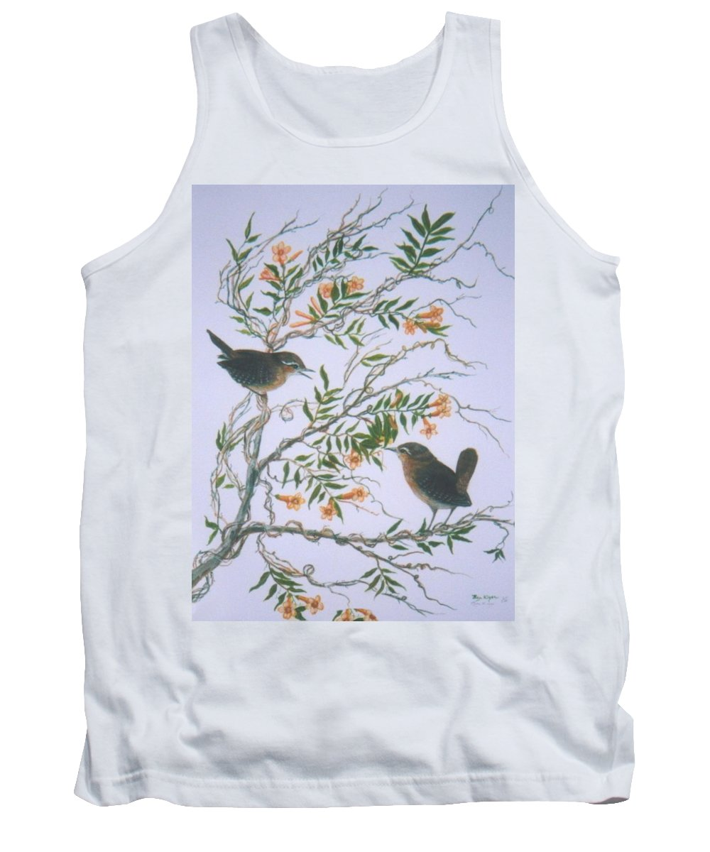 Bird; Flowers Tank Top featuring the painting Carolina Wren And Jasmine by Ben Kiger