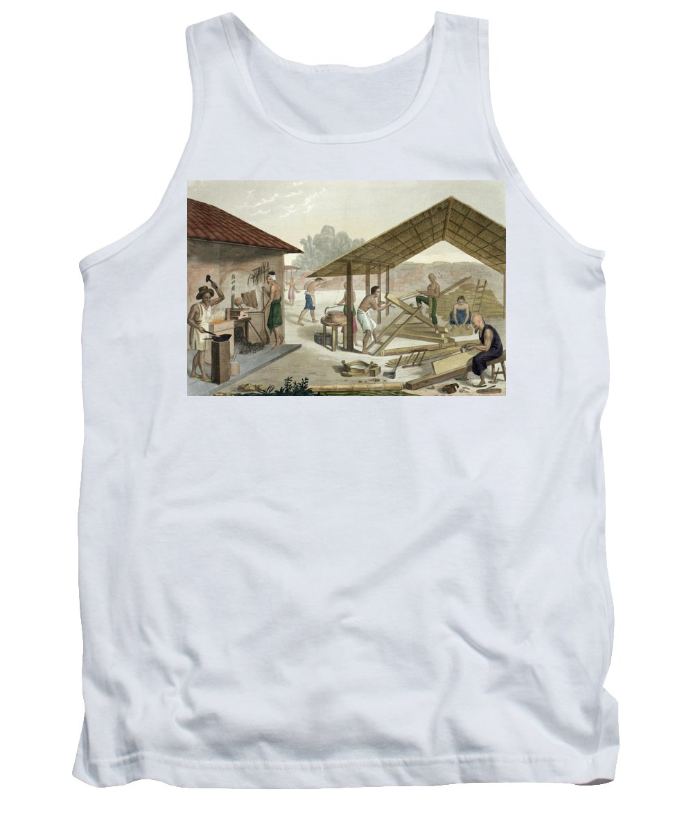 Giulio Tank Top featuring the drawing Carpentry Workshop In Kupang, Timor by Francesco Citterio