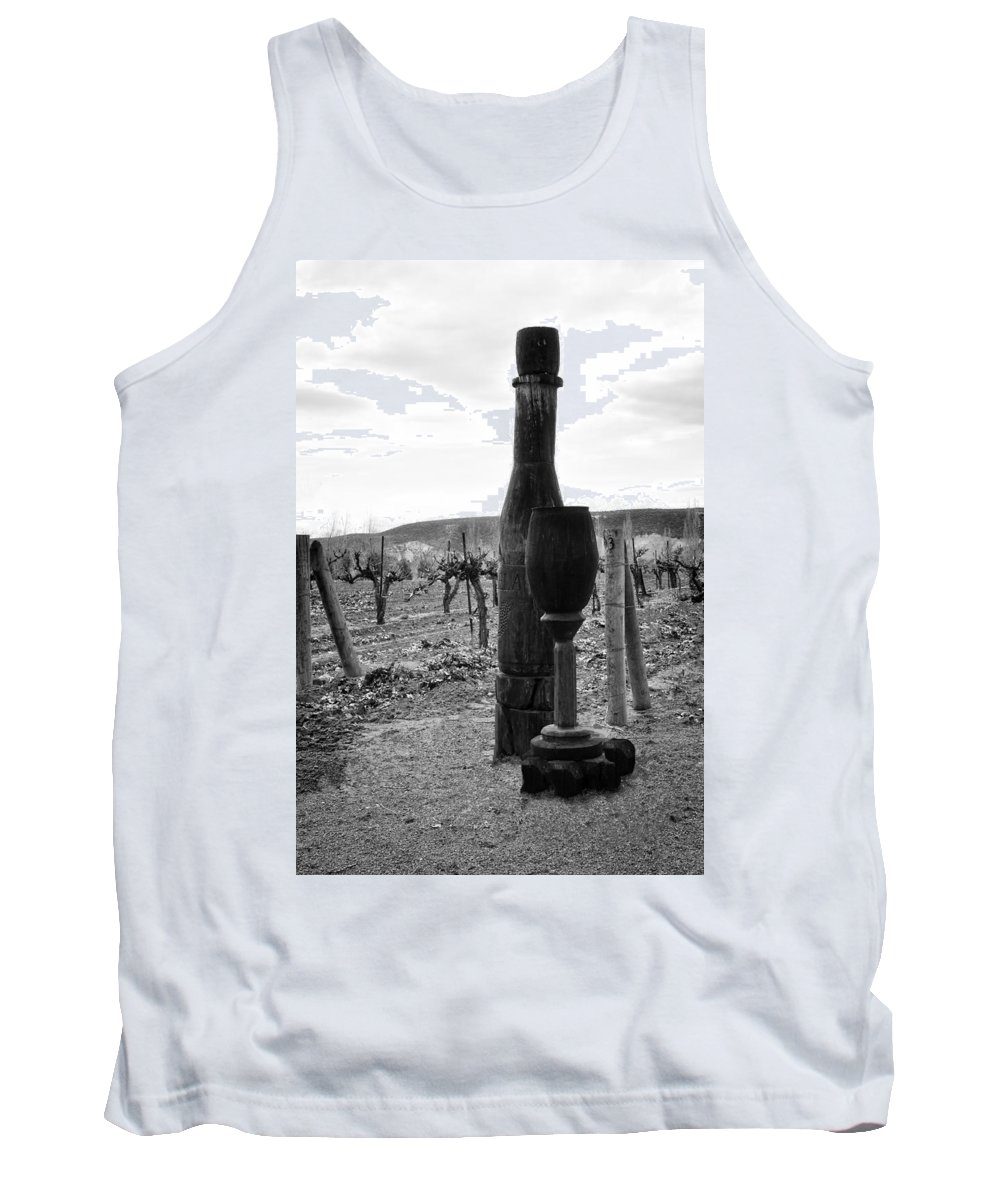 Glenns Ferry Tank Top featuring the photograph Carved Wine Bottle And Wine Glass by Image Takers Photography LLC - Laura Morgan