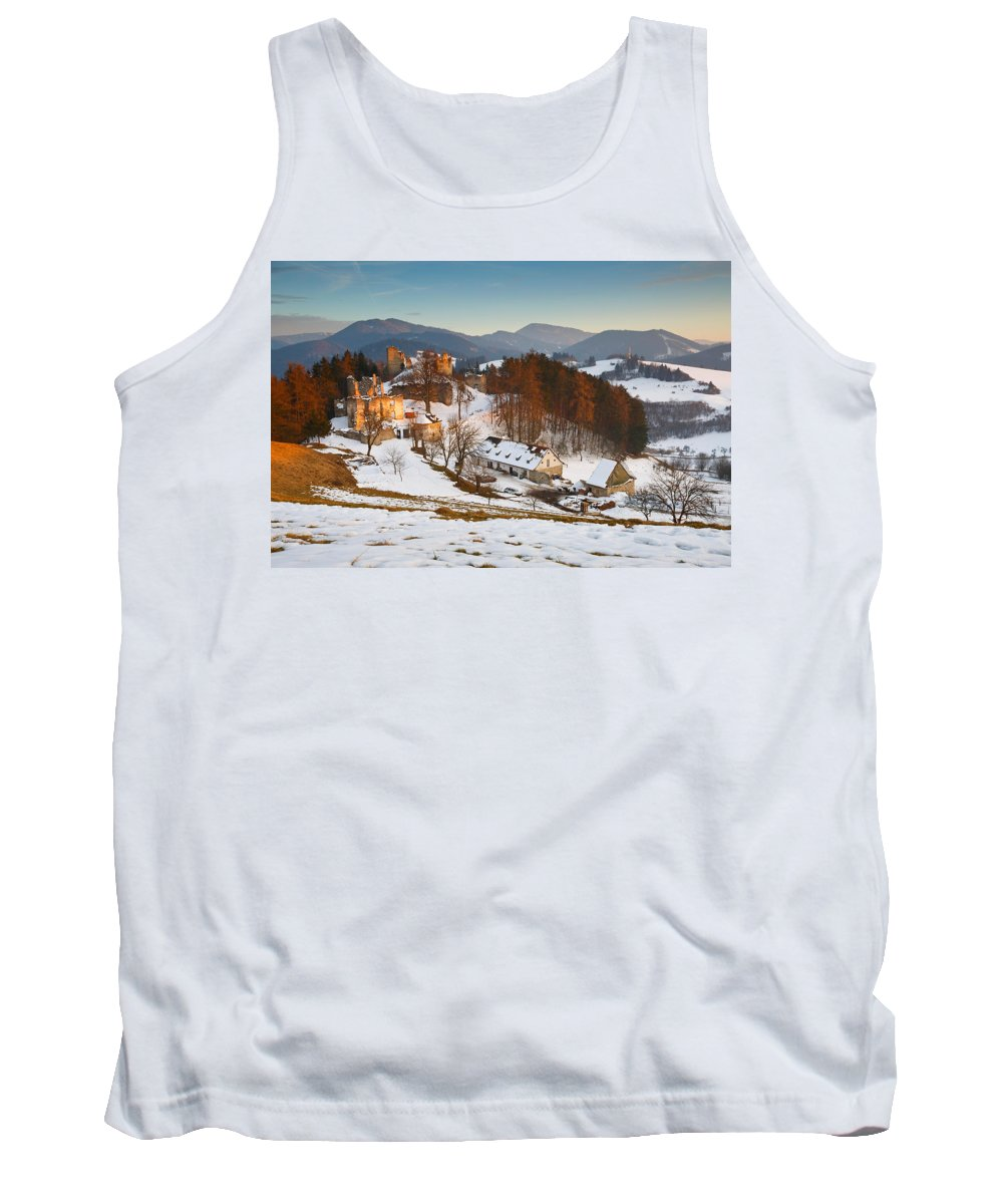 Sunset Tank Top featuring the photograph castle in northen Slovakia by Milan Gonda