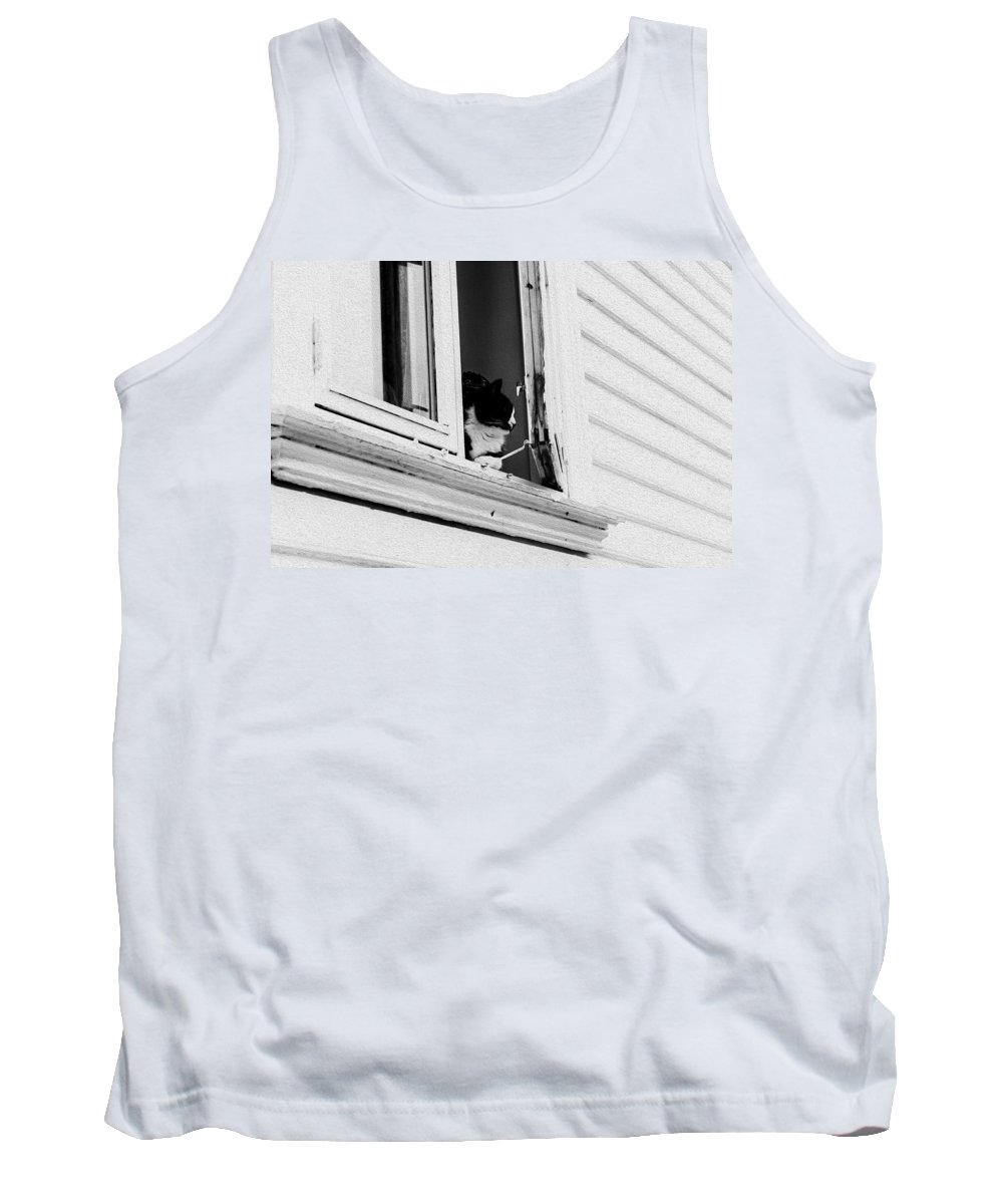Norway Tank Top featuring the photograph Cat In The Window by Bill Howard