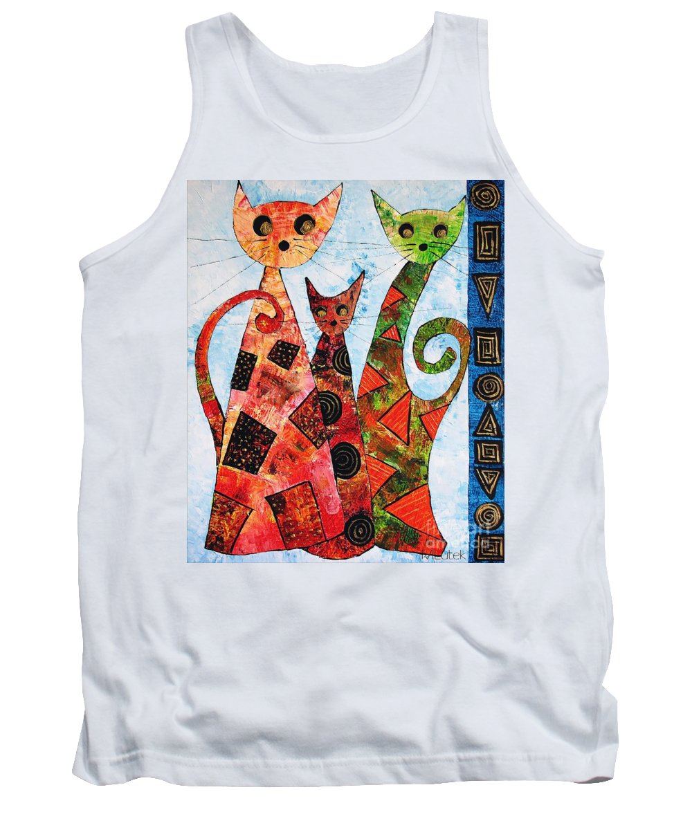 Cats Tank Top featuring the painting Cats 737 - Marucii by Marek Lutek