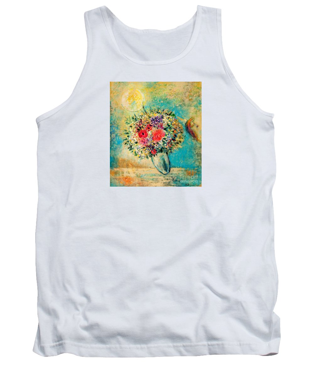 Flower Tank Top featuring the painting Celebration by Shijun Munns