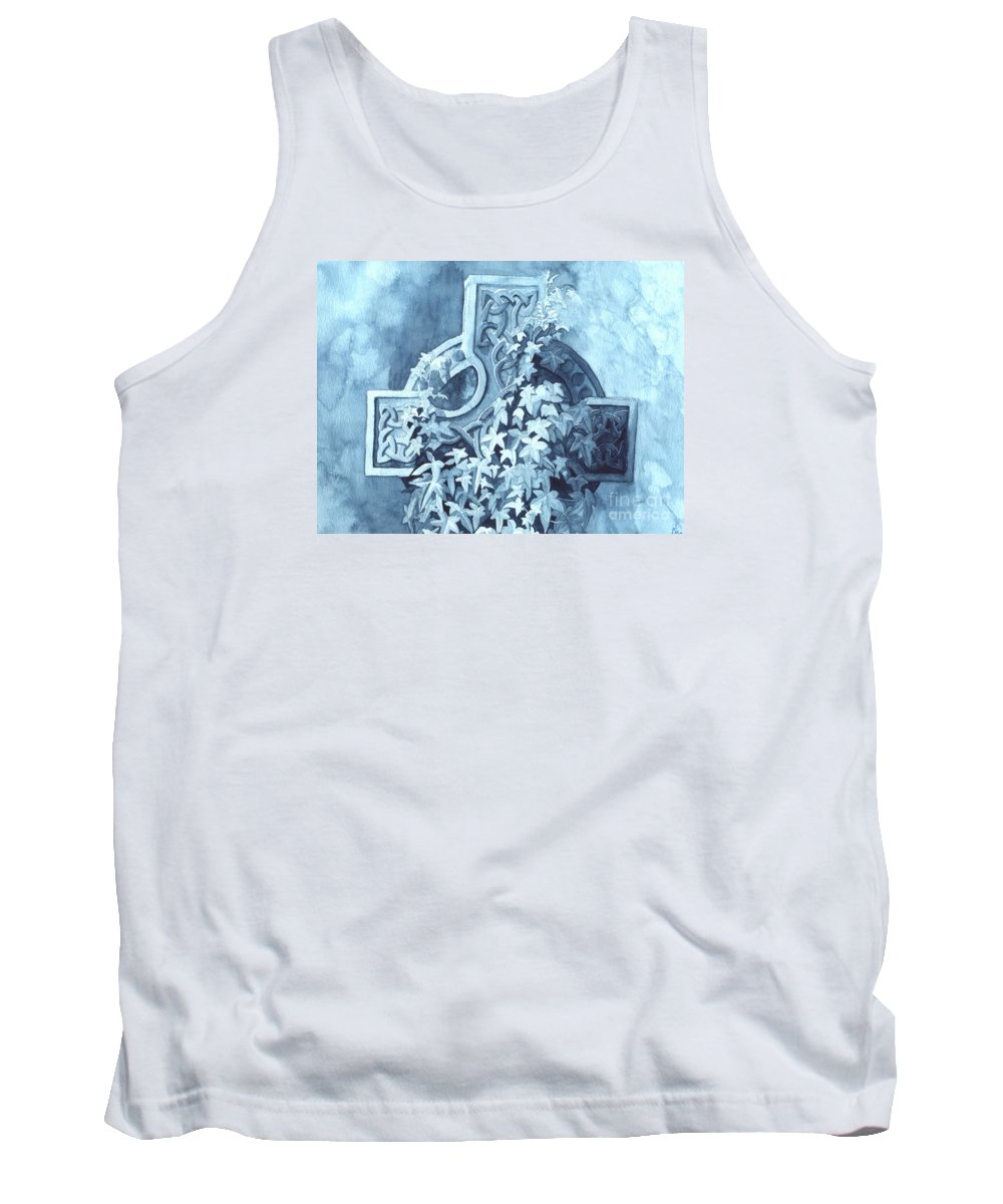 Celtic Cross Tank Top featuring the painting Celtic Cross Study by Lynn Quinn