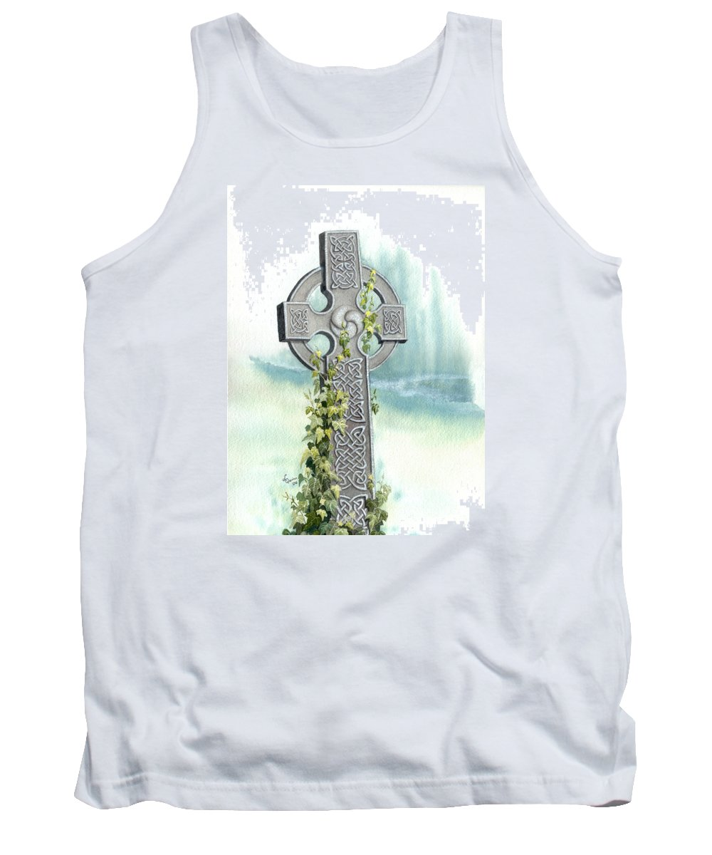 Celtic Cross Tank Top featuring the painting Celtic Cross With Ivy II by Lynn Quinn