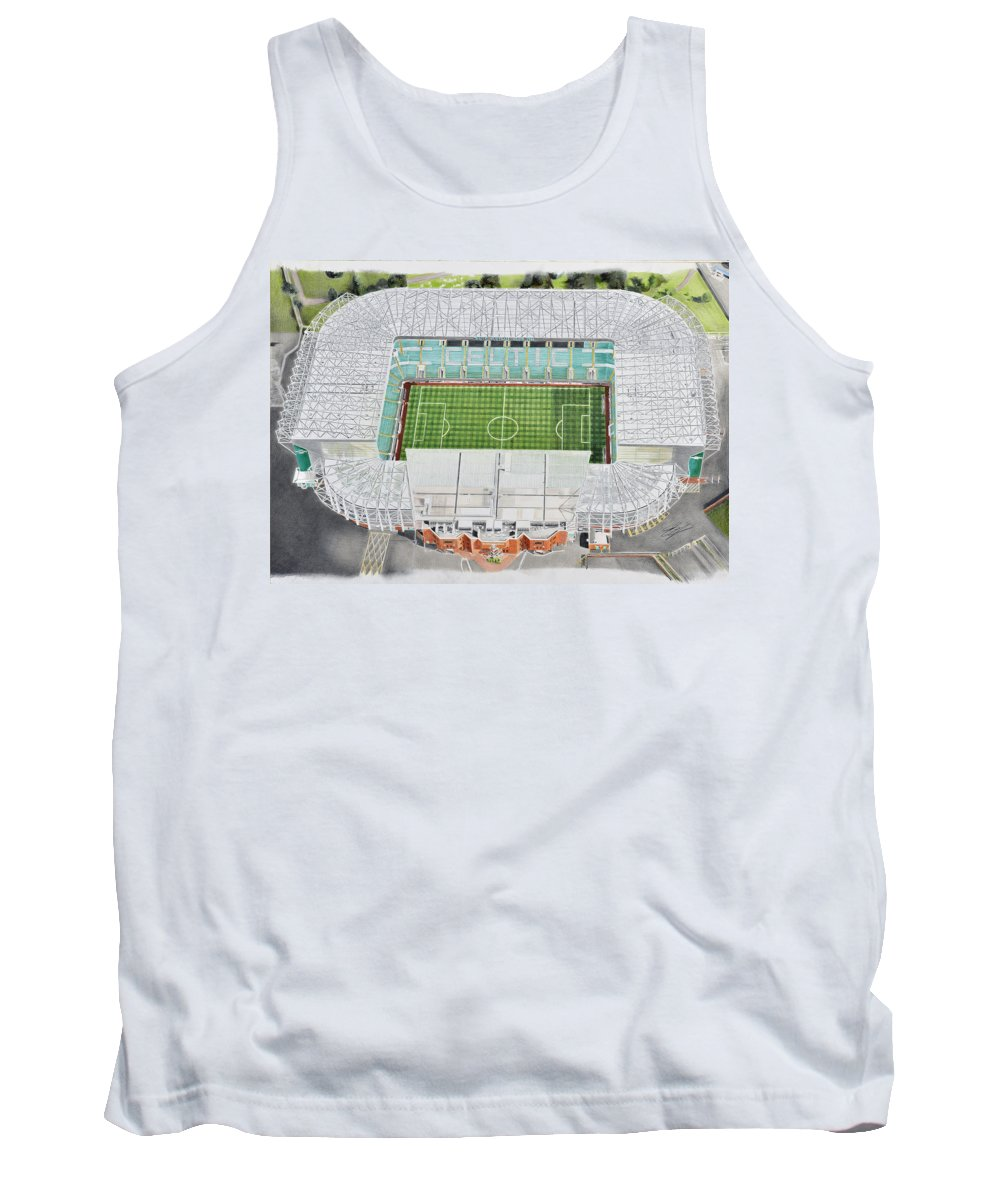 Art Tank Top featuring the painting Celtic Park Stadia Art - Celtic Fc by Brian Casey