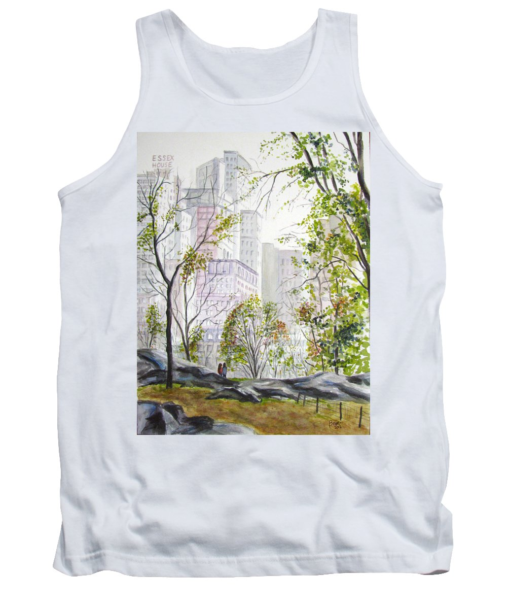 Ny Tank Top featuring the painting Central Park Stroll by Clara Sue Beym