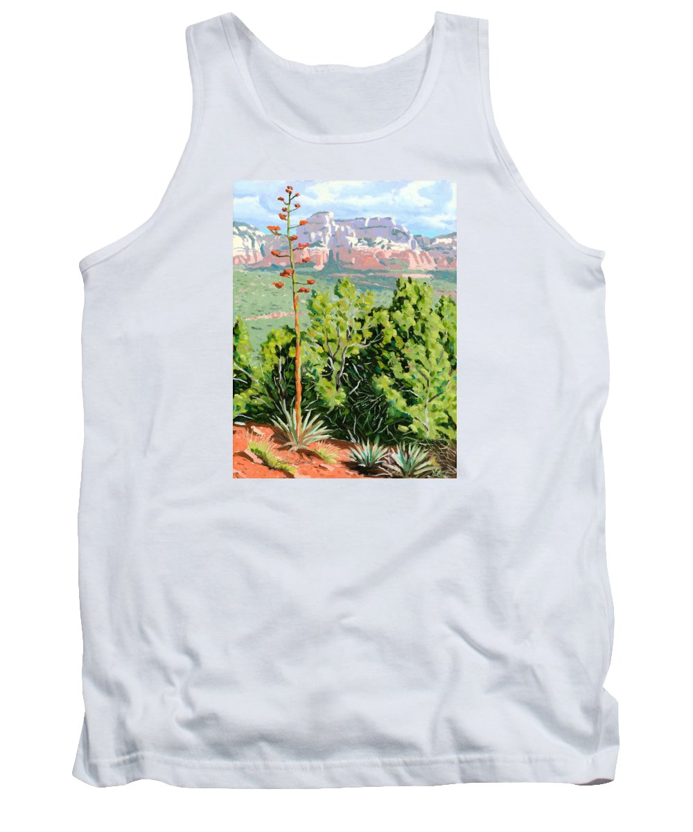 Century Plant Tank Top featuring the painting Century Plant - Sedona by Steve Simon