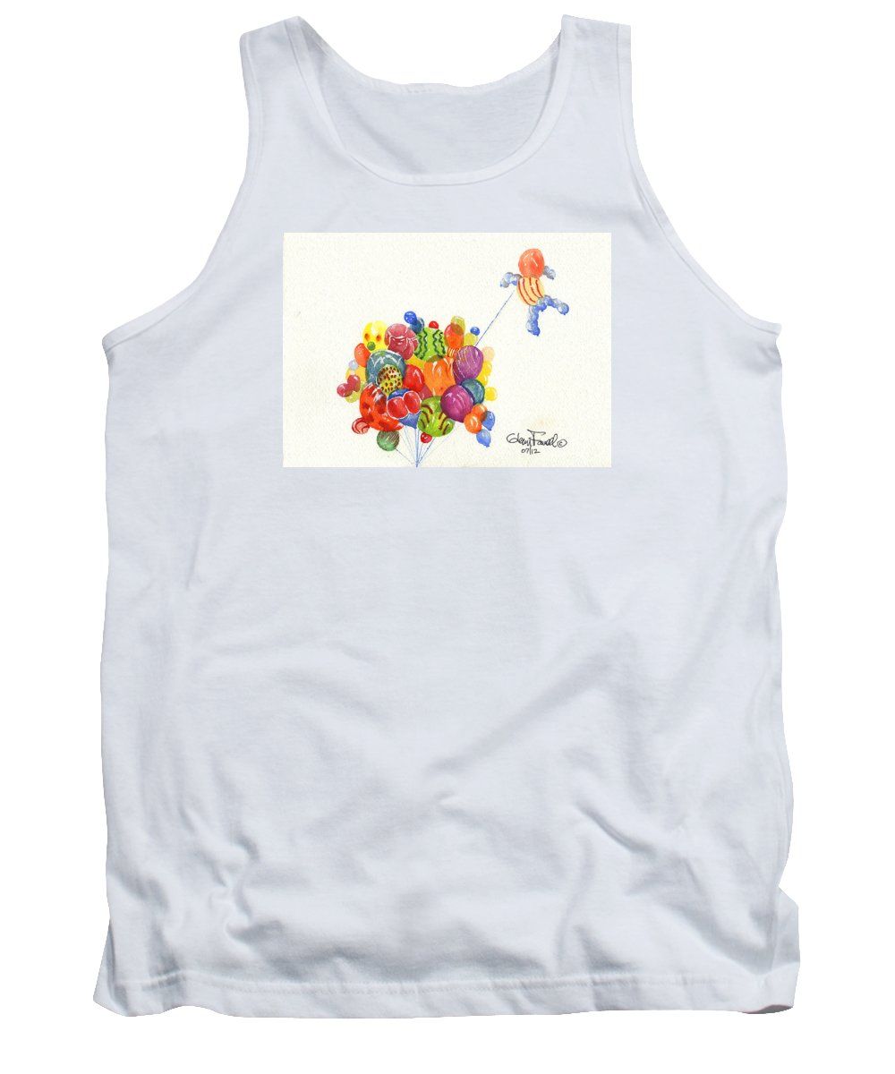 Balloons Tank Top featuring the painting Characters In Balloon by Glenn Farrell