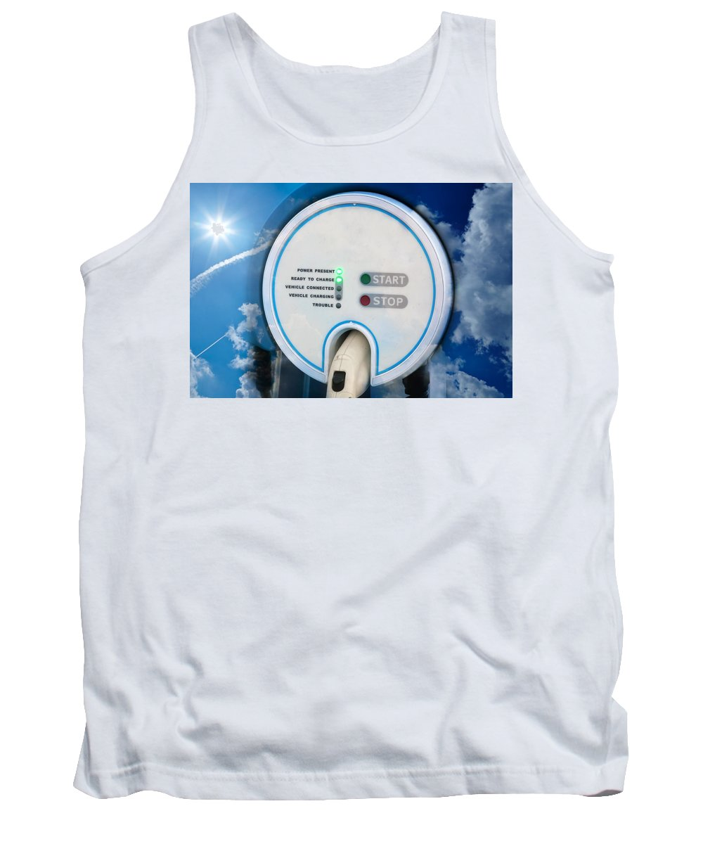 Alternative Tank Top featuring the photograph Charging Station For Electric Hybrid Car by Gunter Nezhoda