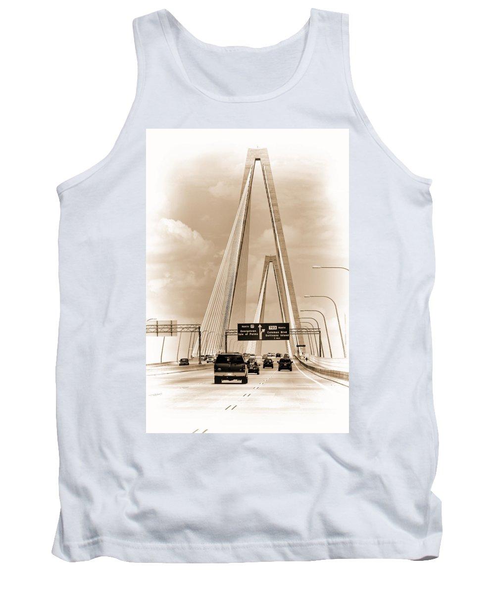 Arthur Ravenel Jr. Bridge Tank Top featuring the photograph Charleston's Arthur Ravenel Jr. Bridge by Kathy Clark