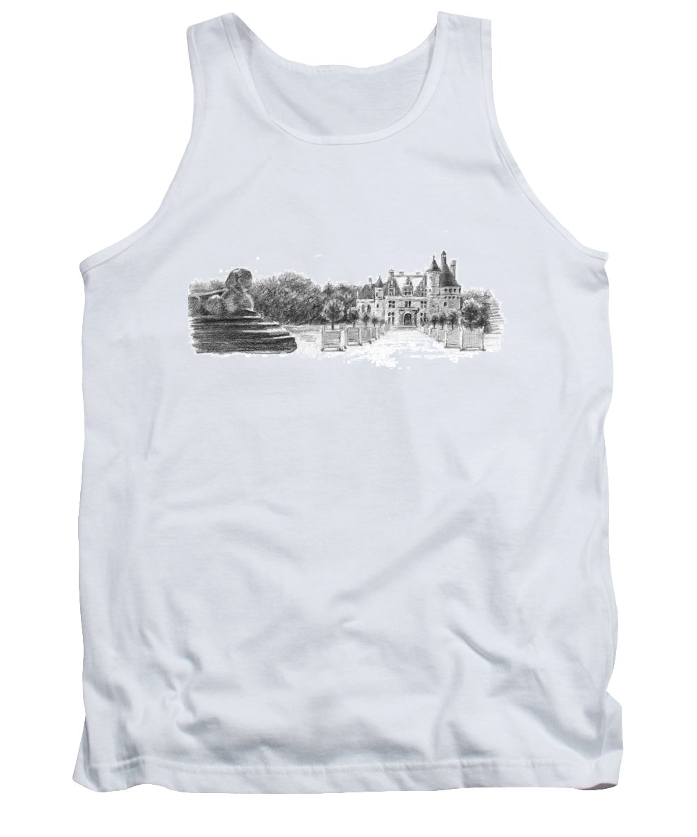 Castle Tank Top featuring the drawing Chenonceau Entrance by Sarah Parks