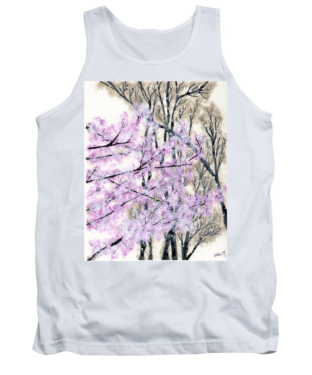 Cherry Tank Top featuring the painting Cherry Blossoms In Spring Snow by Anne Clark