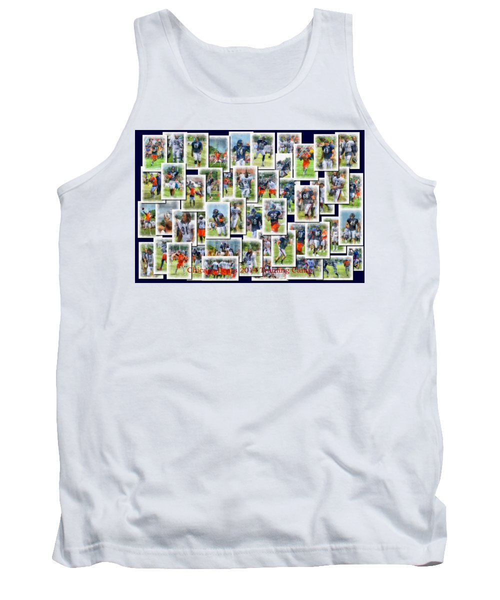 Chicago Bears Tank Top featuring the photograph Chicago Bears Training Camp 2014 Collage Pa 01 by Thomas Woolworth